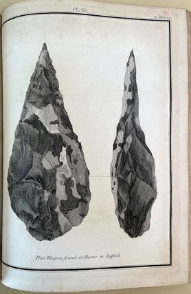 Account of flint weapons discovered at Hoxne in Suffolk. In Archaeologia 13, pp. 204-5.